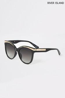 River Island Black Lorna Metal Brow Glam Sunglasses
