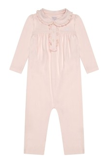 Girls Pink Cotton Polo Babygrow