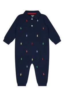 Baby Boys Navy Cotton Logo Coverall