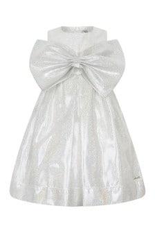 Simonetta Girls Silver Silk Glittery Bow Dress