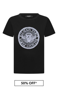 Boys Black Jersey Logo T-Shirt