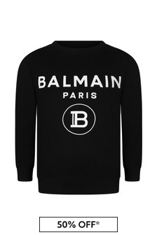 Boys Black & White Cotton Logo Print Sweater
