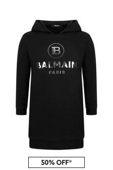 Balmain Girls Black Cotton Hooded Sweater Dress