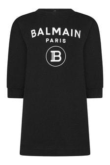 Baby Girls Black Cotton Logo Dress