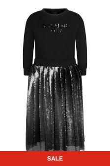 Balmain Girls Black Cotton Sequin Dress