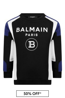 Boys Black Cotton Logo Print Sweater