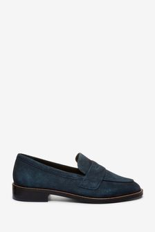 Navy Suede Leather Almond Toe Loafers