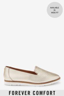 Gold Leather EVA Slipper Loafers