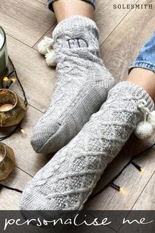 Personalised Pom Slipper Socks by Solesmith
