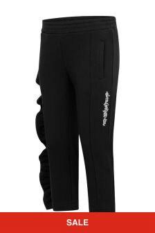 Girls Black Cotton Ruffle Trim Trousers