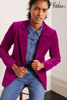 Boden Purple Siddal Velvet Blazer