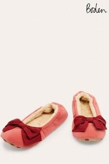 Boden Pink Cosy Velvet Bow Slippers