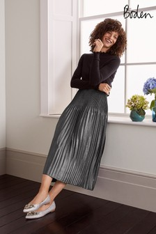 Boden Metallic Cassidy Pleated Skirt