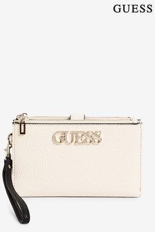 Guess Nude Uptown Zip Clutch Bag