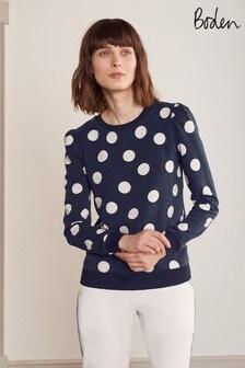 Boden Blue Puff Sleeve Sweatshirt