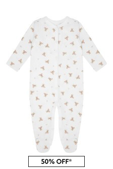 Girls White & Pink Bear Babygrow