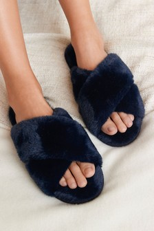 Navy Recycled Faux Fur Slider Slippers