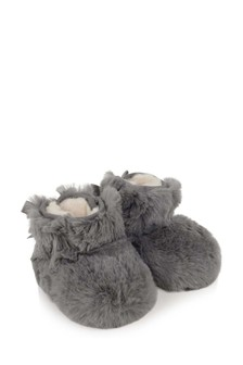 Baby Girls Grey Jesse Bow II Fluff Booties