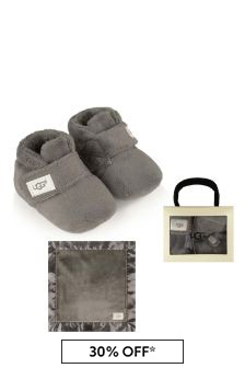 Grey Bixbee Booties & Lovey Blanket Gift Set