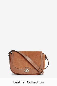Tan Suede Saddle Across-Body Bag