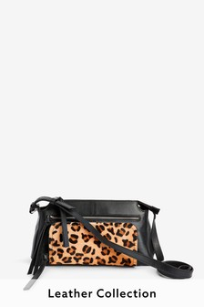 Black/Animal Leather Zip Across-Body Bag
