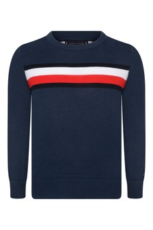 Boys Navy Cotton Essential Sweater