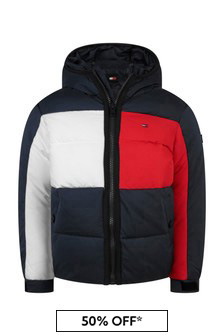 Boys Navy Flag Hooded Jacket