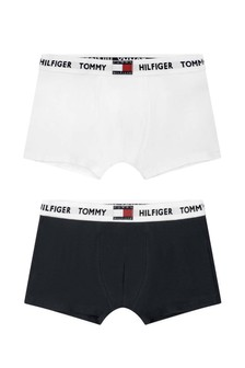 Boys Navy/White Organic Cotton Boxer Shorts Set