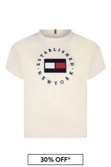Girls Ivory Cotton Heritage Logo T-Shirt