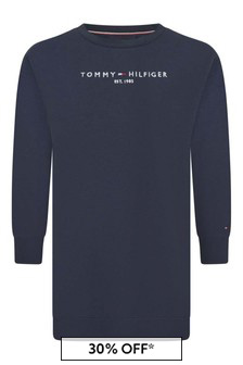 Tommy Hilfiger Girls Navy Organic Cotton Sweater Dress