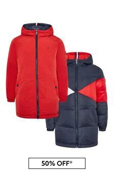 Girls Navy Reversible Iconic Puffer Coat