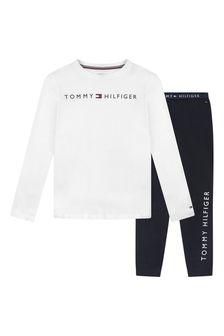 Boys White & Navy Organic Cotton Loungewear