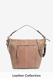 Pink Leather And Suede Mix Bucket Bag