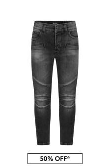Boys Black Cotton Denim Biker Jeans