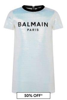 Balmain Girls Iridescent Logo Dress