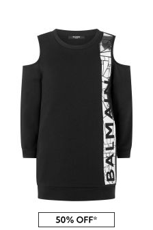 Balmain Girls Black Cotton Logo Dress