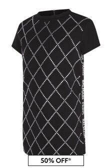 Balmain Girls Black Diamanté Dress