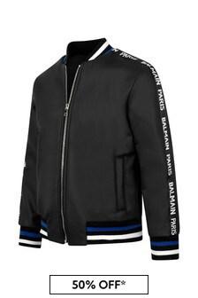 Boys Black Logo Bomber Jacket