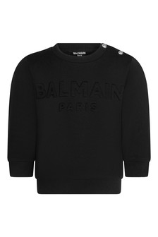 Baby Boys Black Cotton Logo Sweater