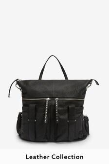 Black Premium Leather Stud Rucksack