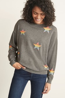 Grey Multi Colour Star Jumper