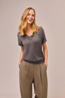 Grey Sparkle V-Neck T-Shirt