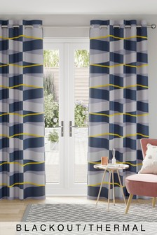Overscale Geo Print Eyelet Curtains