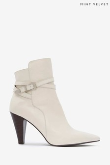 Mint Velvet Cream Piper Off-White Leather Boots