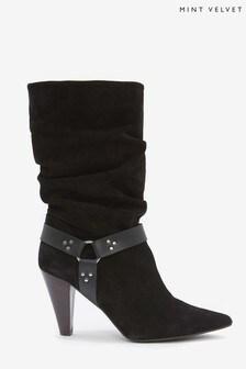 Mint Velvet Black Ryder Suede Slouchy Boots