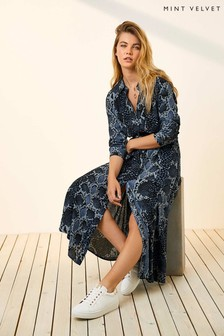 Mint Velvet Blue Venus Snake Print Shirt Dress