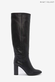 Mint Velvet Black Rachel Knee Length Boots