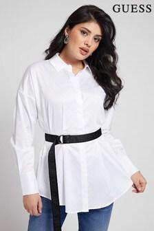 Guess White Rhianna Long Sleeve Shirt Dress