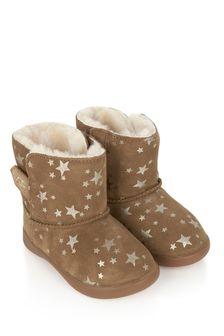 Girls Chestnut Keelan Stars Boots