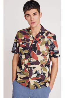 Black/Ecru Regular Fit Printed Short Sleeve Shirt